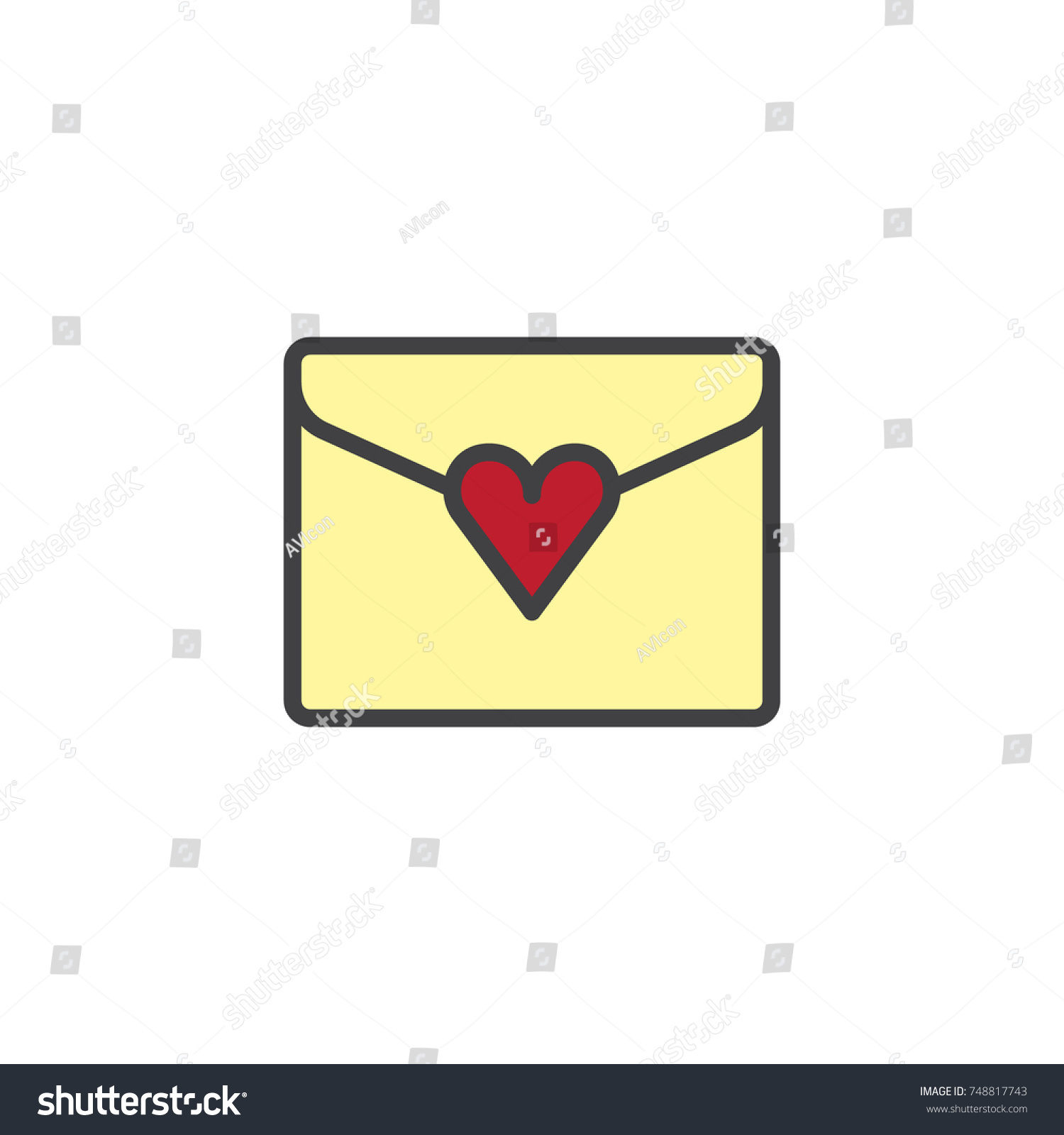 Love letter heart filled outline icon stock vector 748817743 love letter with heart filled outline icon line vector sign linear colorful pictogram isolated biocorpaavc