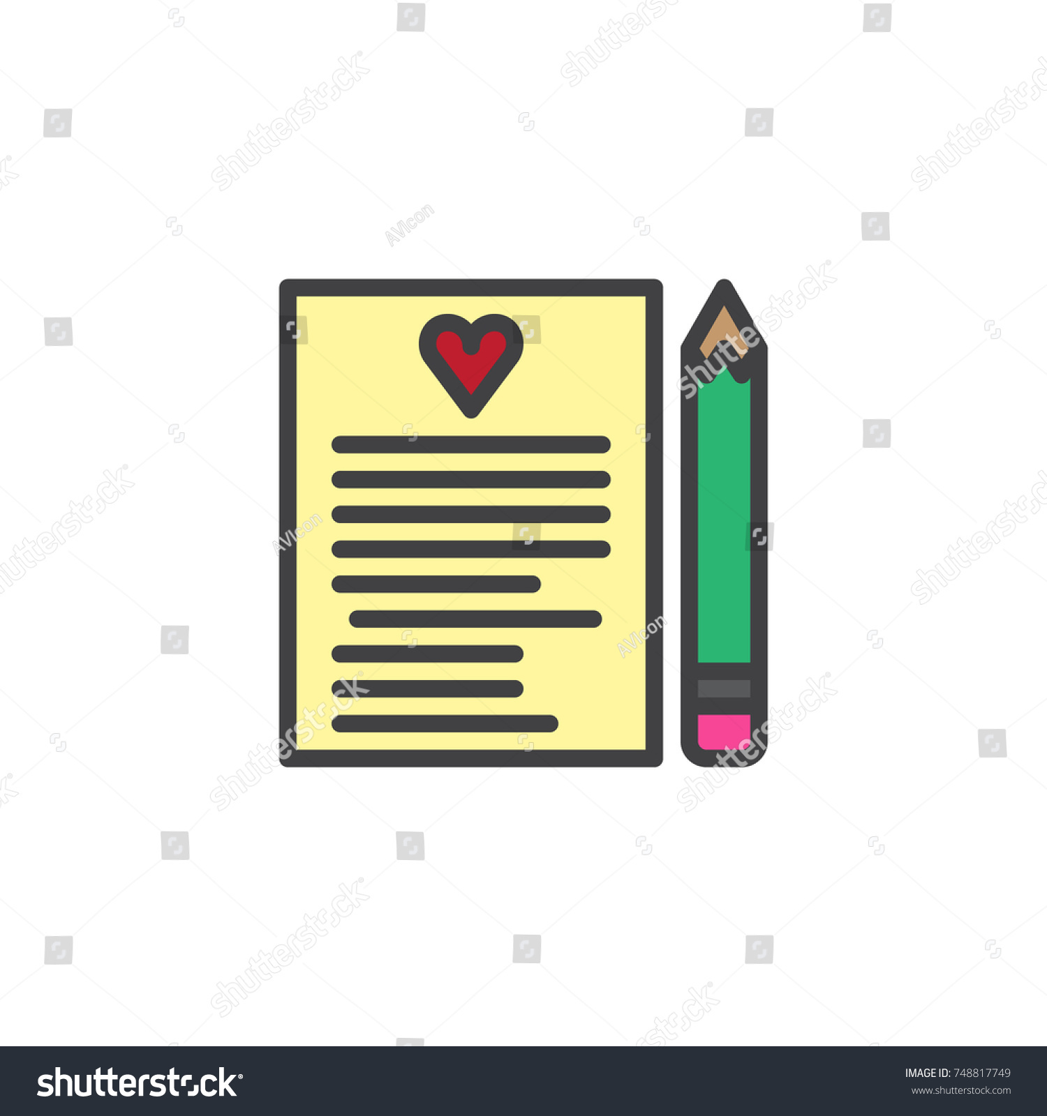 Love letter heart pen filled outline stock vector 748817749 love letter heart pen filled outline stock vector 748817749 shutterstock biocorpaavc