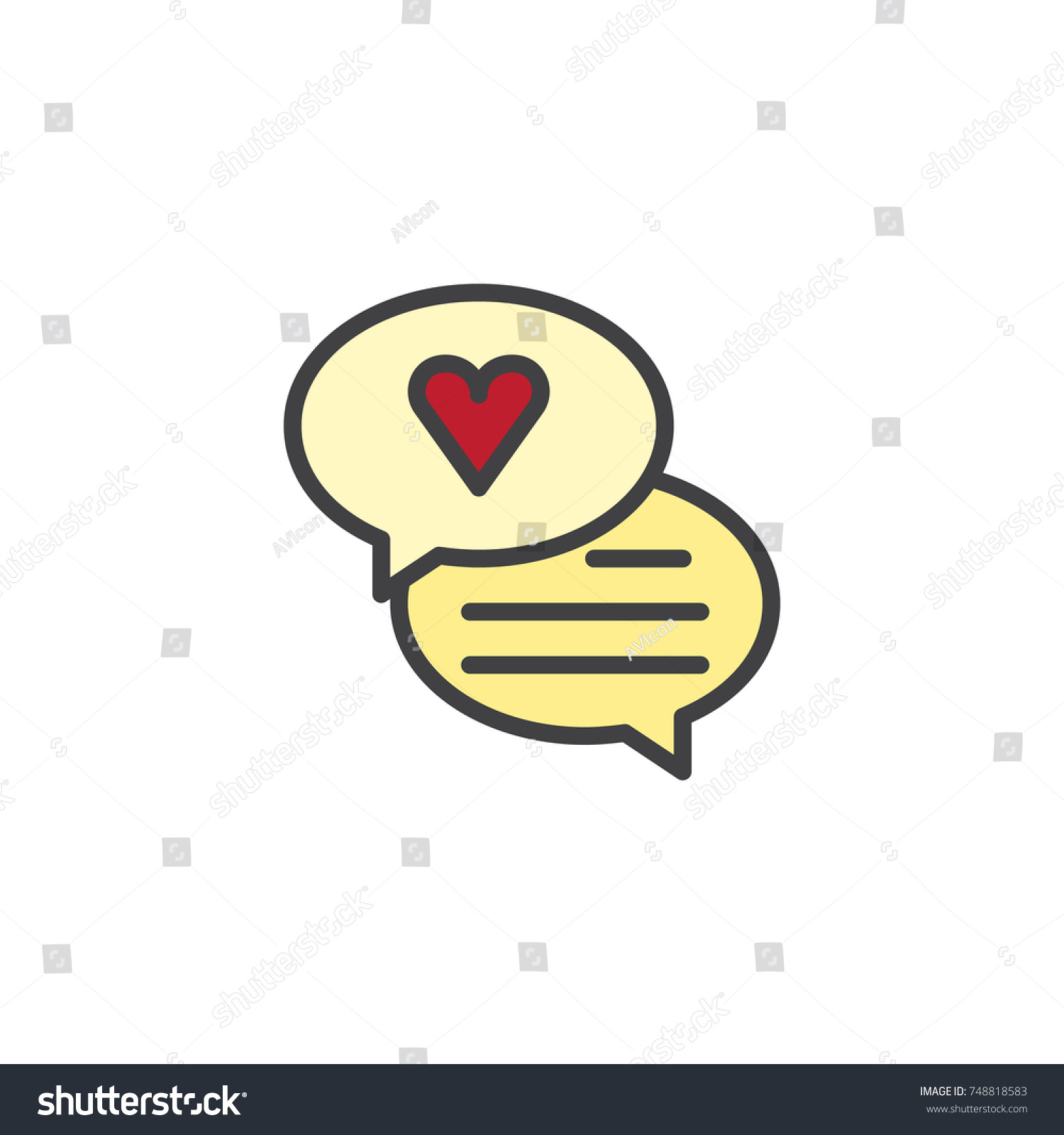 Speech bubble heart filled outline icon stock vector 748818583 speech bubble with heart filled outline icon line vector sign linear colorful pictogram isolated biocorpaavc