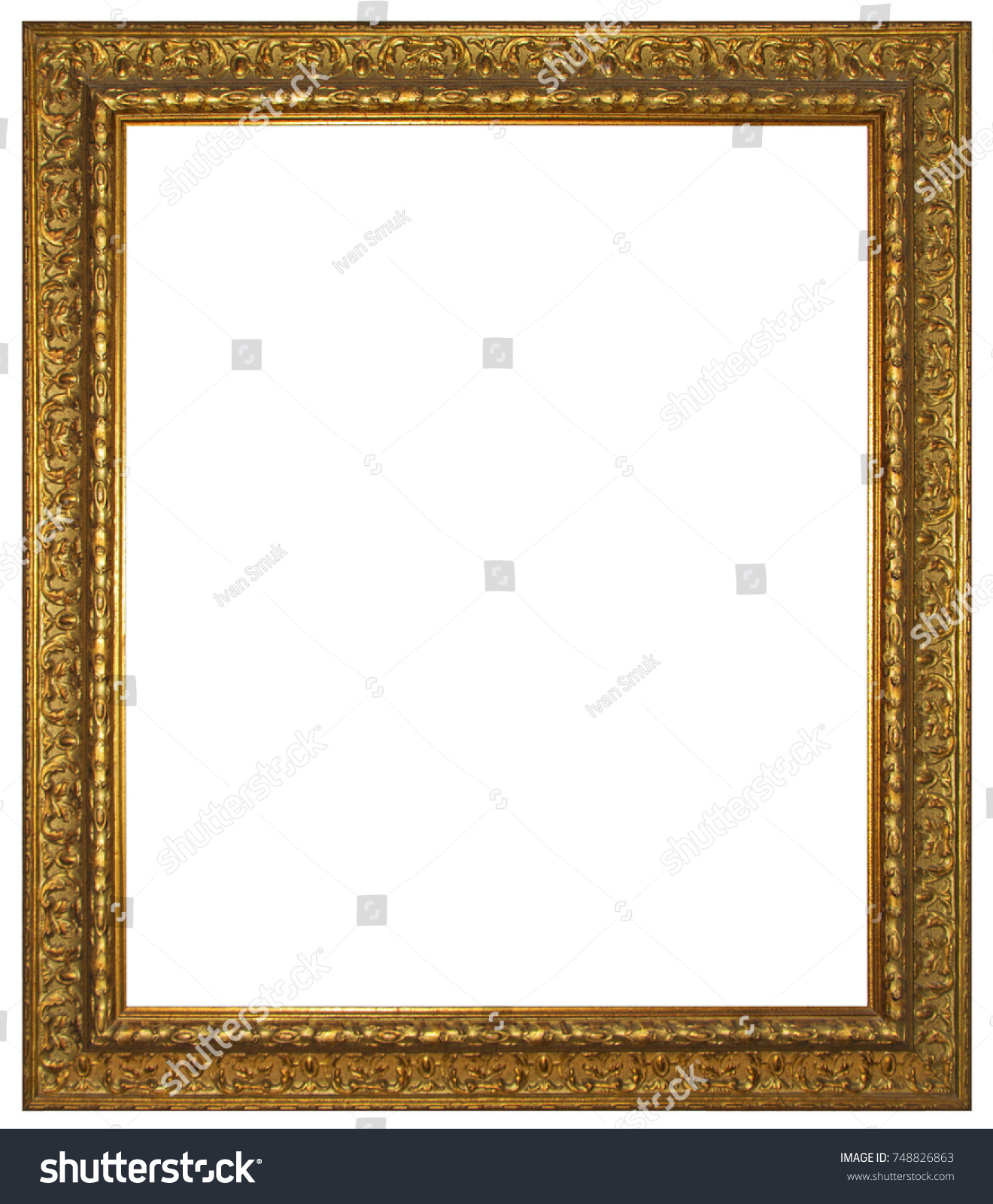 Gold Wooden Frame Painting Picture Isolated Stock Photo (Safe to Use ...
