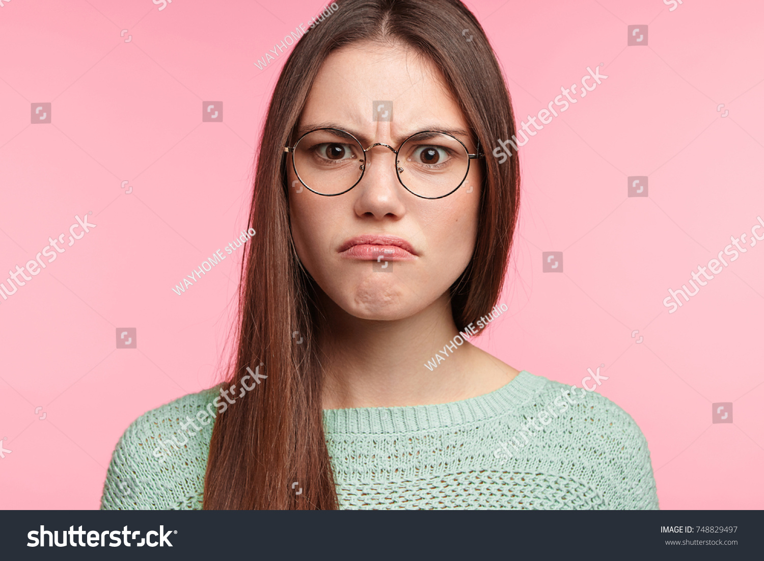413bd7a7b2872 Aggravated Brunette Female Long Straight Dark Stock Photo (Edit Now ...