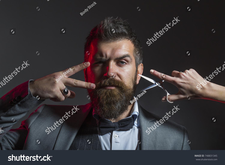 Mens Haircut Barber Scissors Long Beard Stock Photo Edit Now