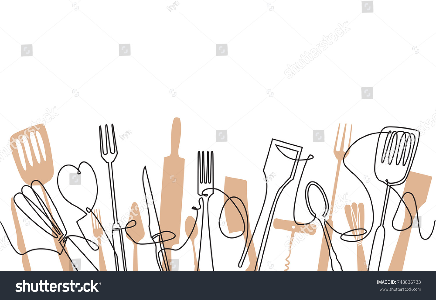 Cooking Seamless Pattern Outline Cutlery Background Stock