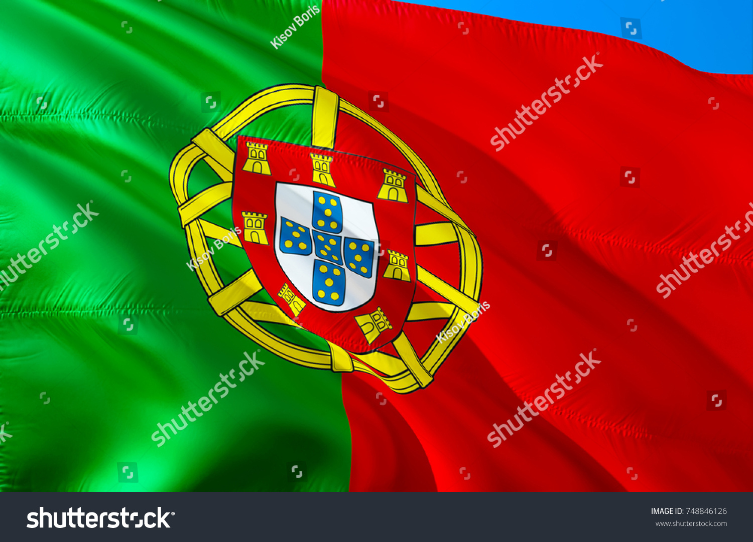 Portugal Flag Flag Portugal 3 D Waving Stock Illustration 748846126