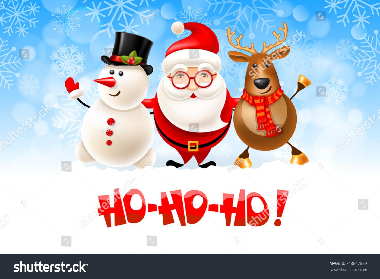 Merry Christmas Hohoho Cheerful Christmas Company Stock Vector ...