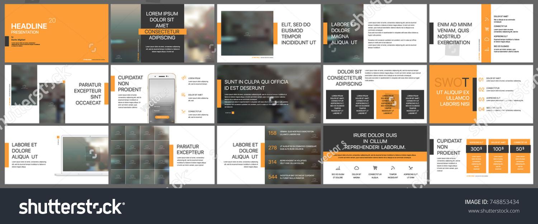 Orange Presentation Templates Elements On White Stock Vector (2018 ...