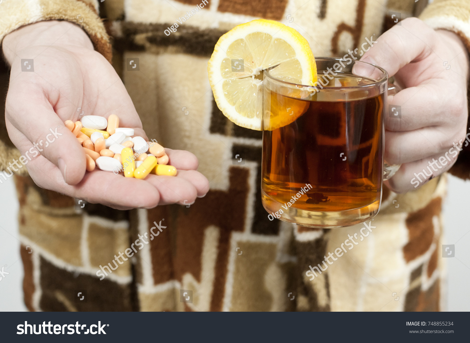 Man Dressing Gown Holds Handful Pills Stock Photo (Edit Now ...
