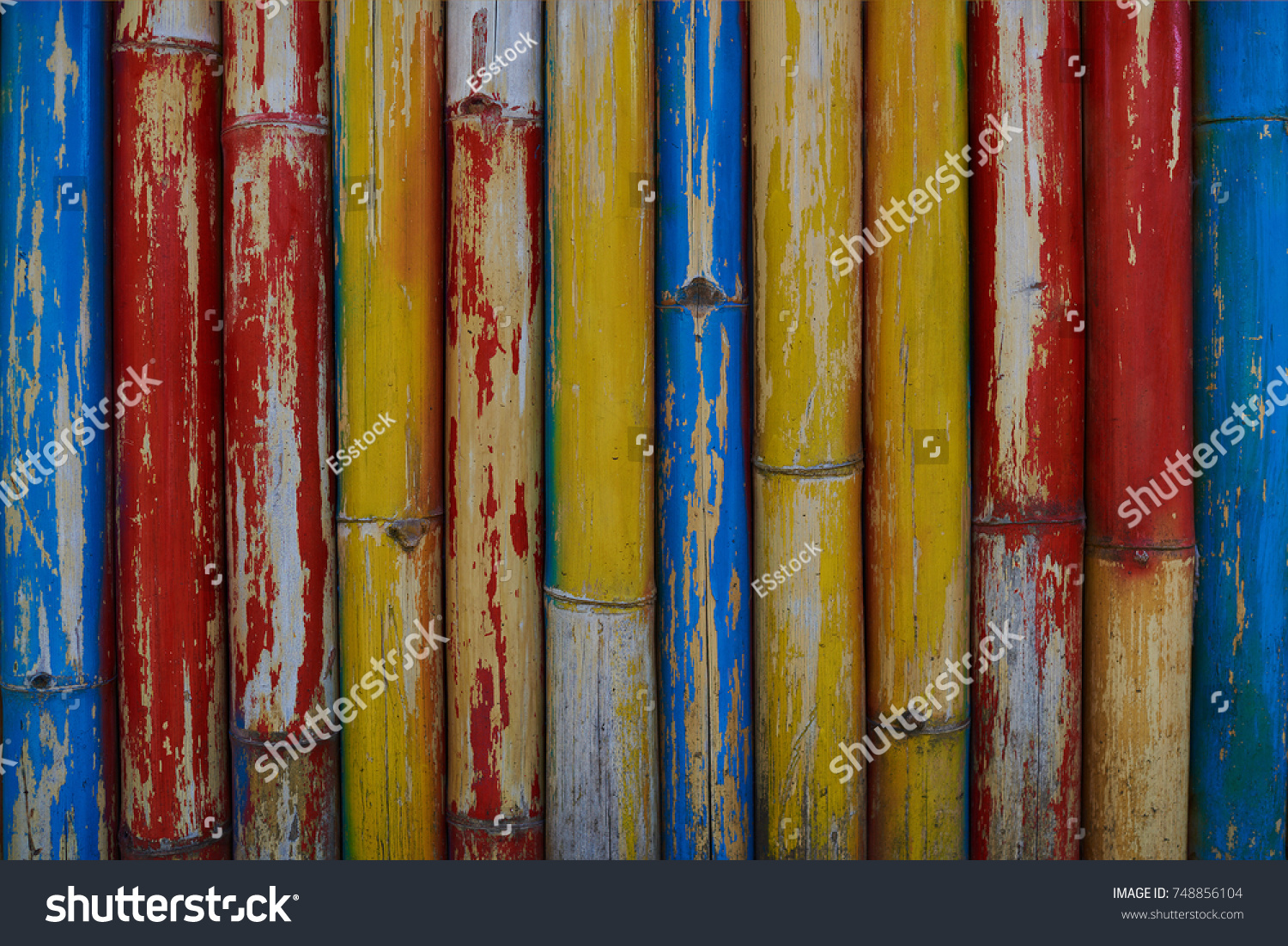 Old Weathered Bamboo Wall Painted Different Stock Photo (Edit Now ...