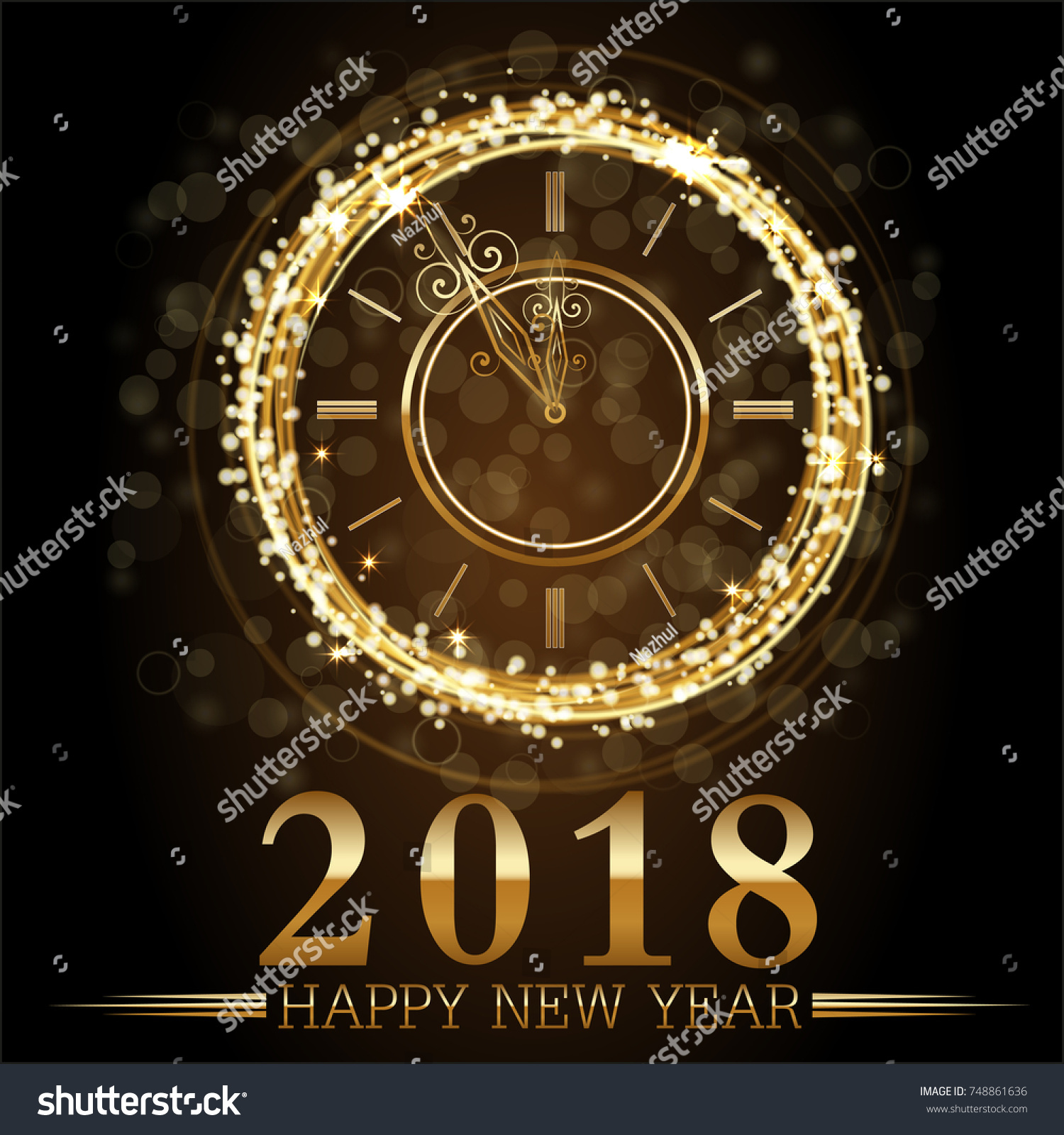 vector 2018 happy new year background with gold clock
