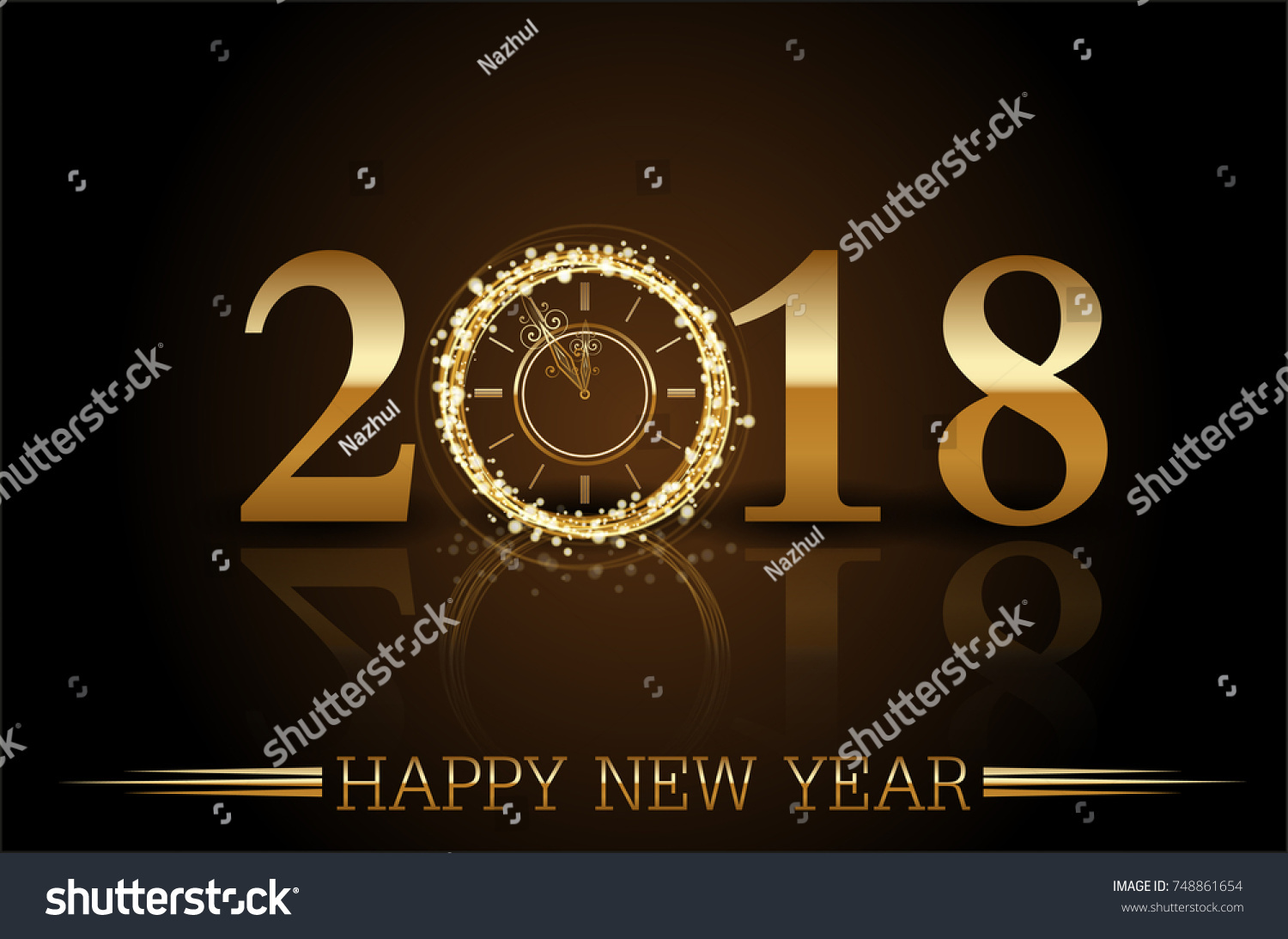 vector 2018 happy new year with gold clock background with sample text ez canvas