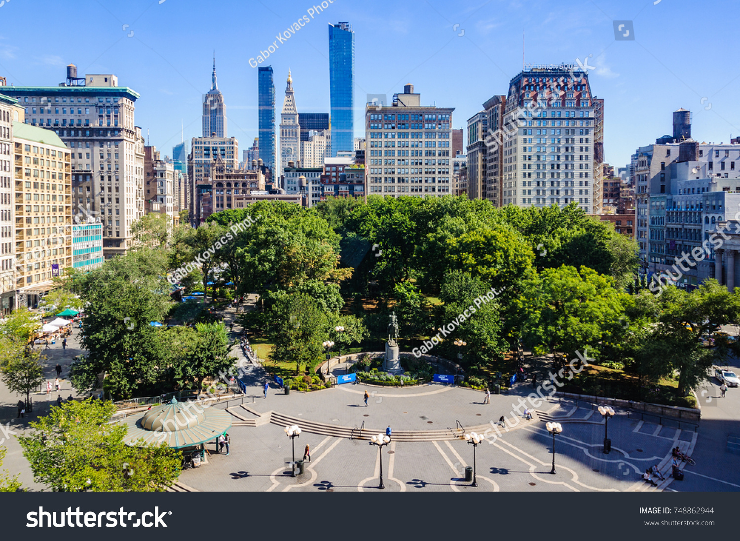 View of Union Square from a shop, New York, USA #748862944