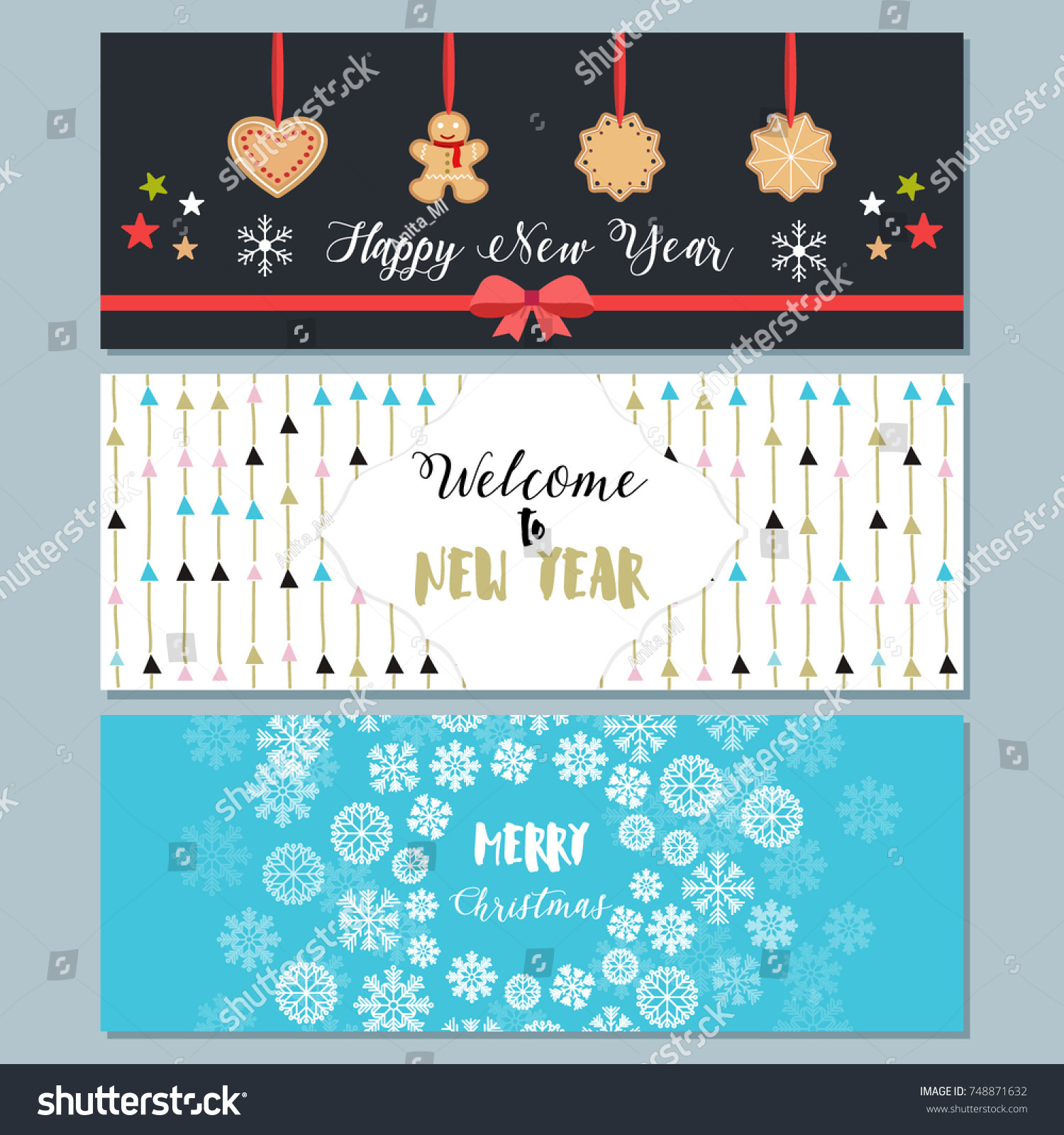 Set Christmas New Year Cards Flat Stock Vector 748871632 - Shutterstock