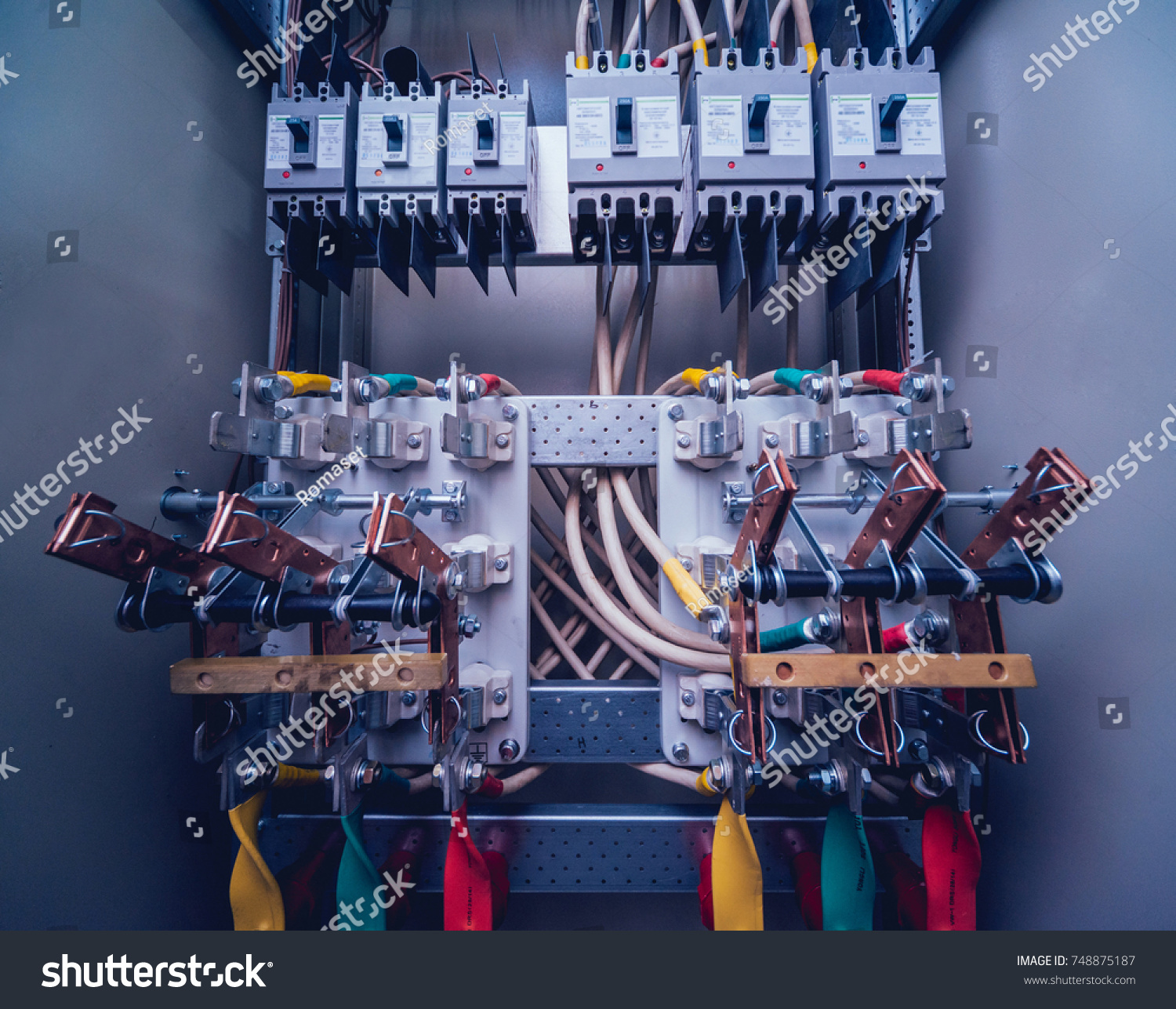 Wires Switches Electric Box Electrical Panel Stock Photo Edit Now Fuses And In With Contactors Background