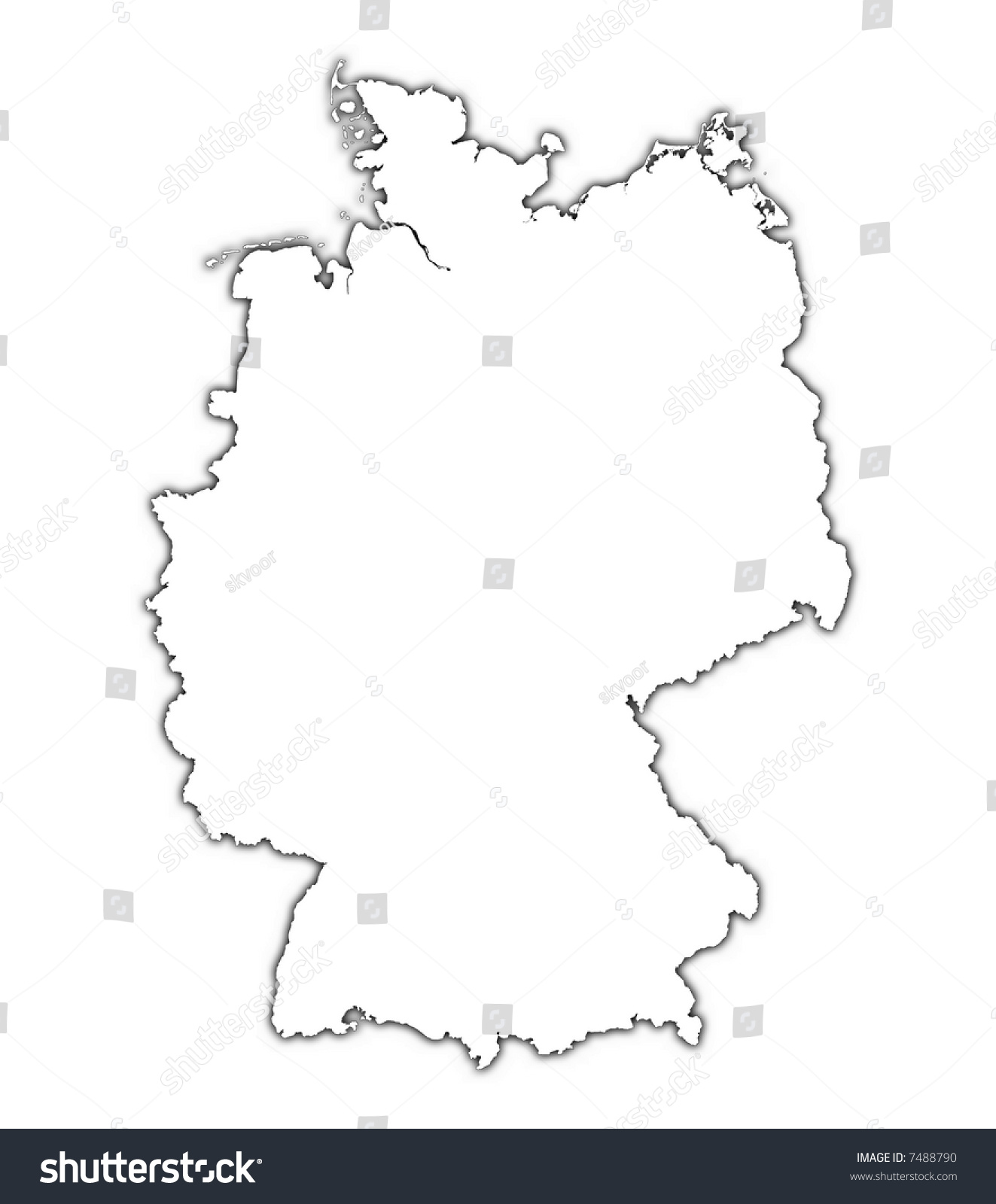 Line Art Map : Germany outline map shadow detailed mercator stock