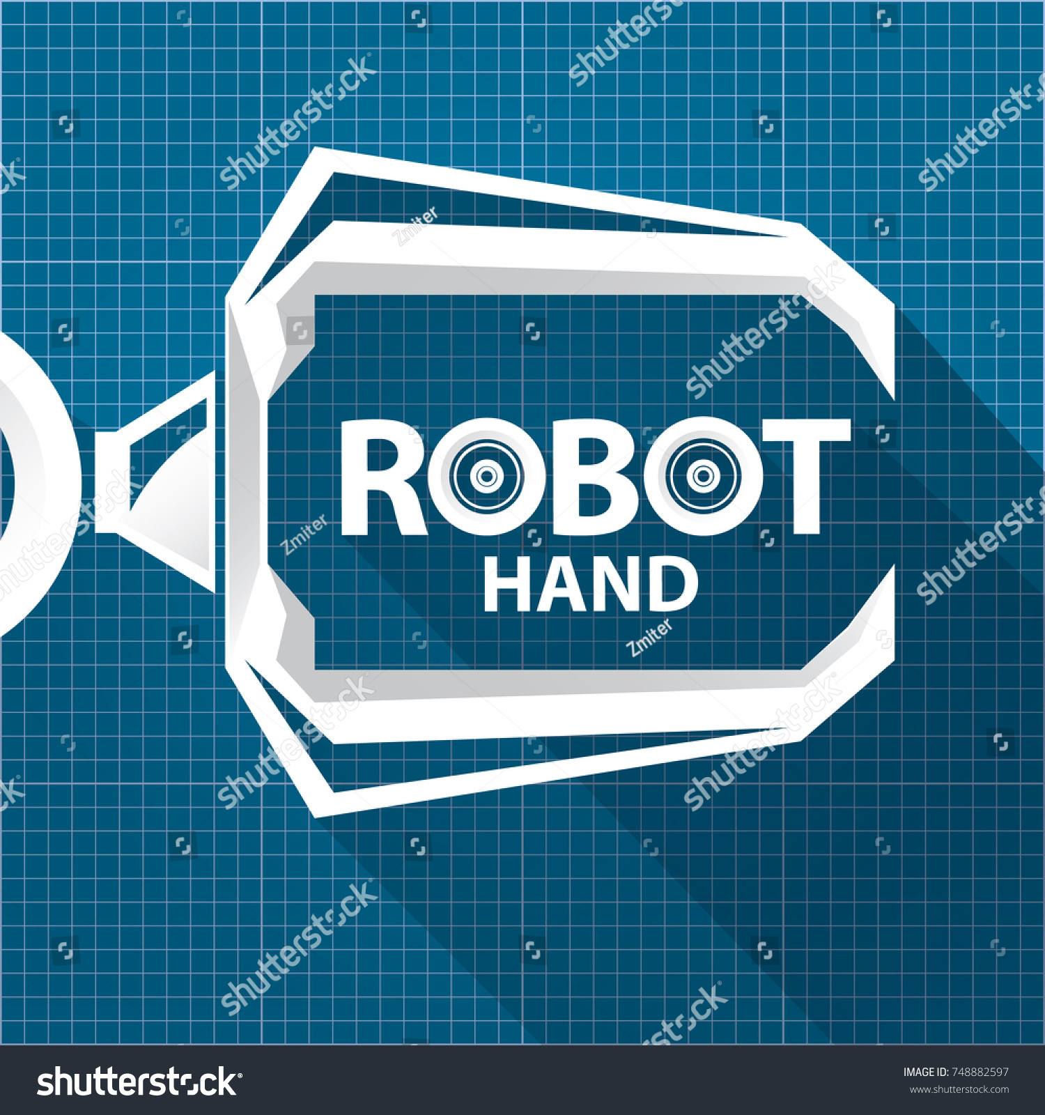 Vector robotic arm symbol on blueprint vectores en stock 748882597 vector robotic arm symbol on blueprint paper background robot hand technology background design template malvernweather Image collections