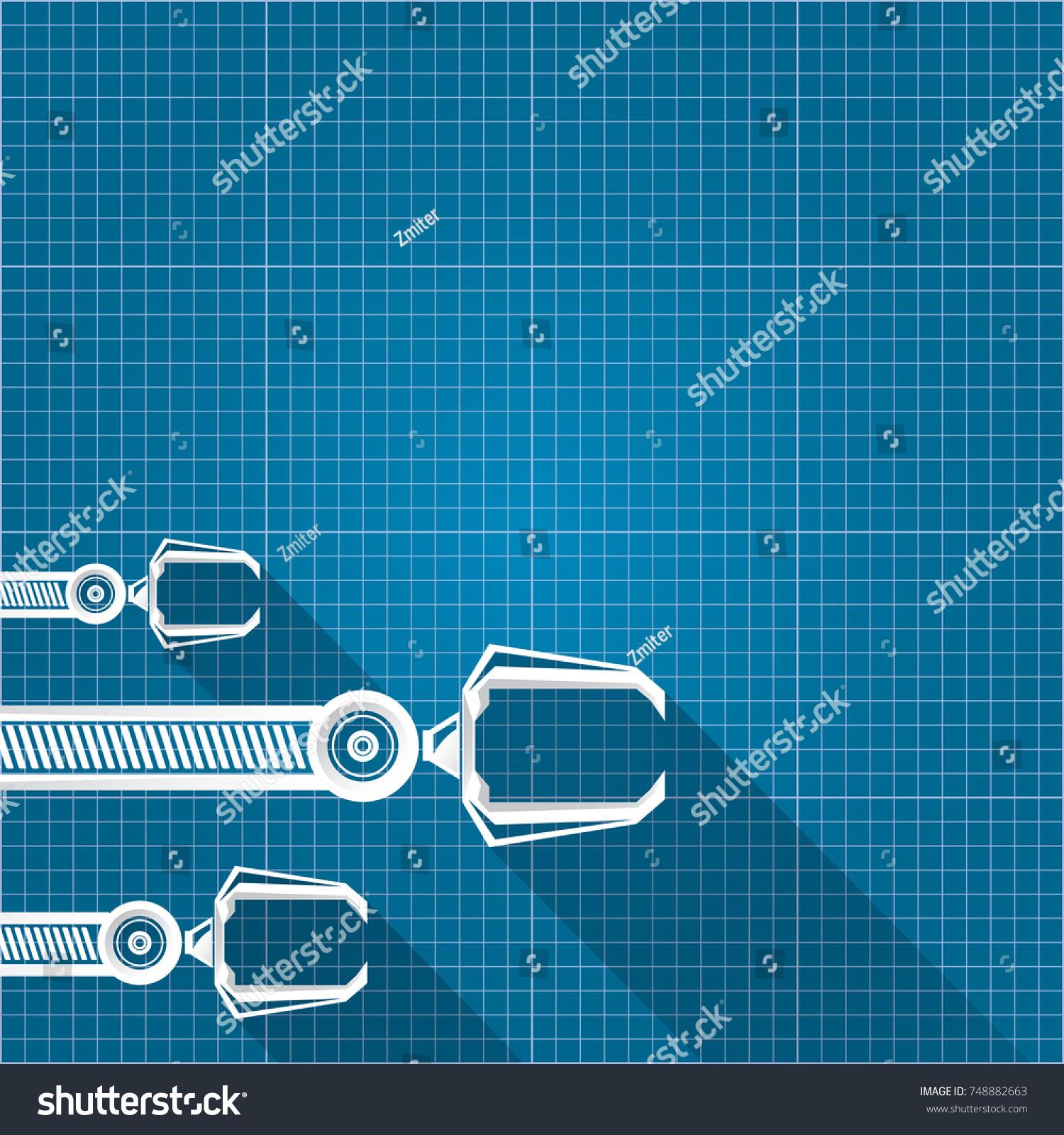 Vector robotic arm symbol on blueprint stock vector 748882663 vector robotic arm symbol on blueprint paper background robot hand technology background design template malvernweather Images