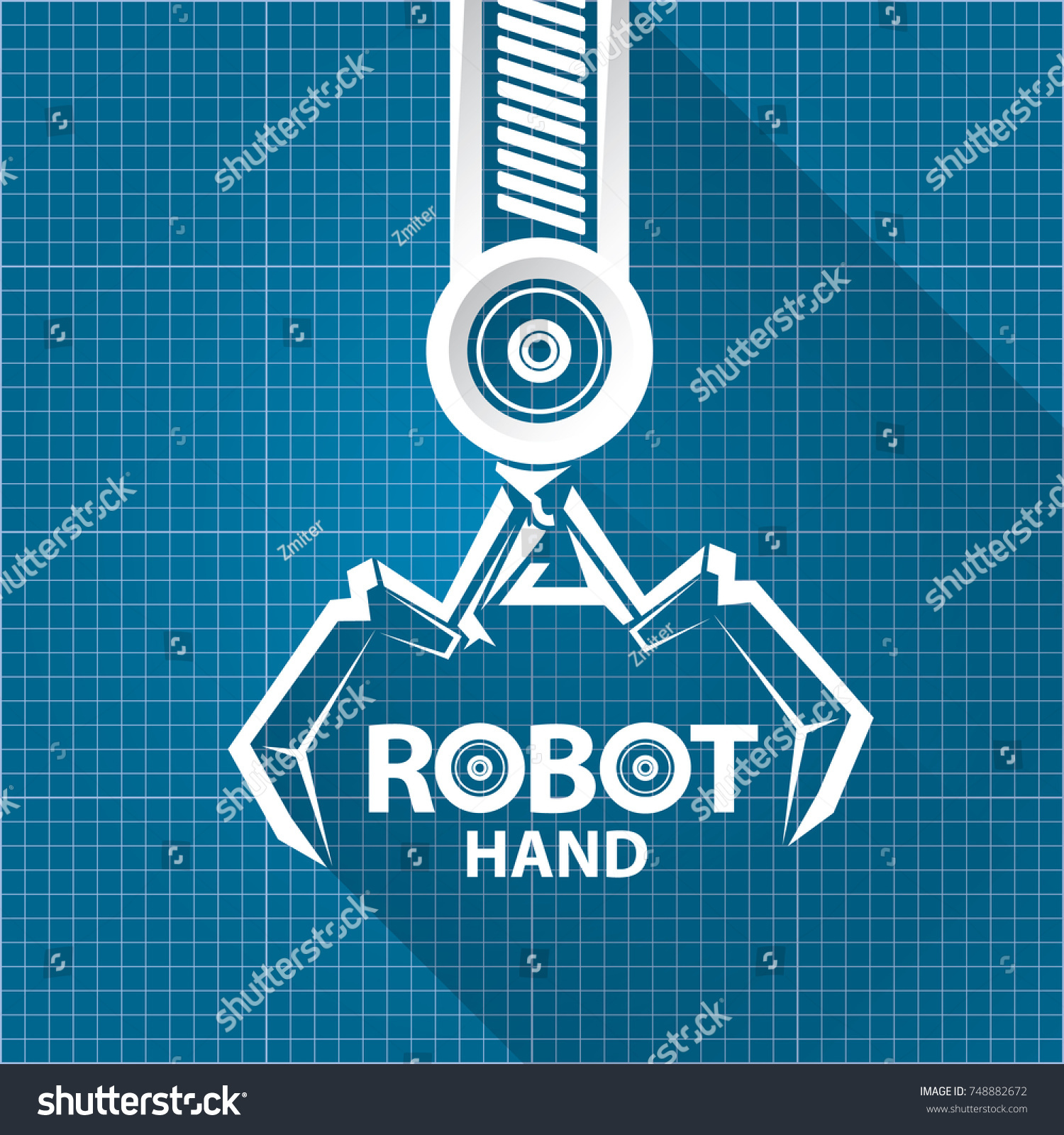 Vector robotic arm symbol on blueprint vector de stock748882672 vector robotic arm symbol on blueprint vector de stock748882672 shutterstock malvernweather Choice Image