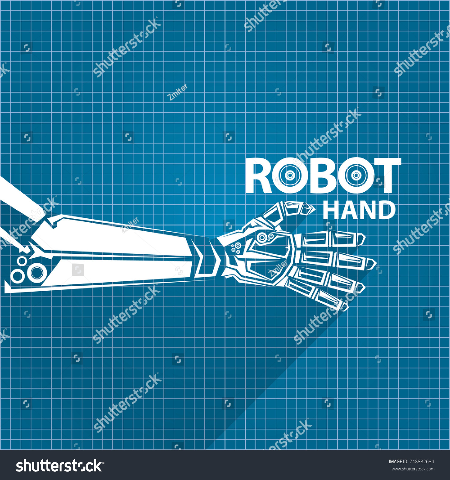 Vector robotic arm symbol on blueprint vectores en stock 748882684 vector robotic arm symbol on blueprint paper background robot hand technology background design template malvernweather Choice Image