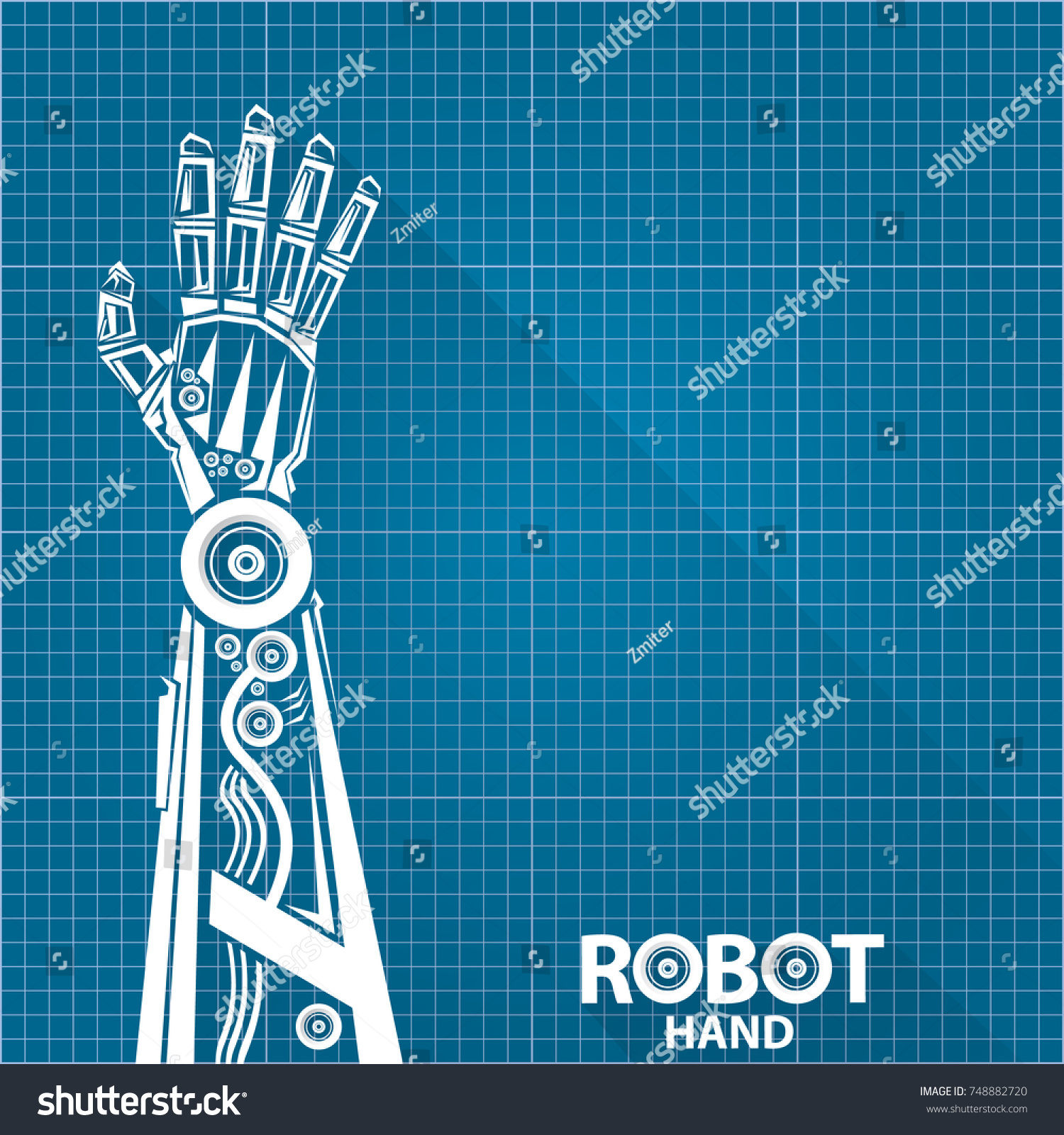 Vector robotic arm symbol on blueprint stock vector 2018 748882720 vector robotic arm symbol on blueprint paper background robot hand technology background design template malvernweather Image collections