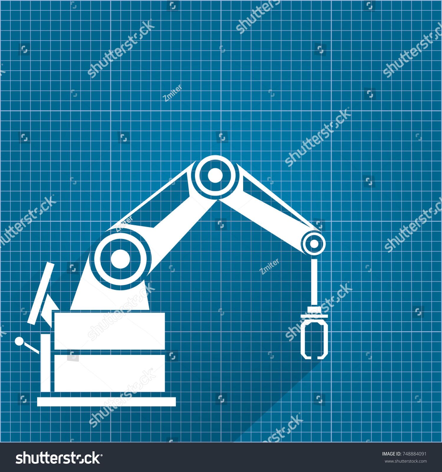 Vector robotic arm symbol on blueprint stock vector 748884091 vector robotic arm symbol on blueprint stock vector 748884091 shutterstock malvernweather Choice Image