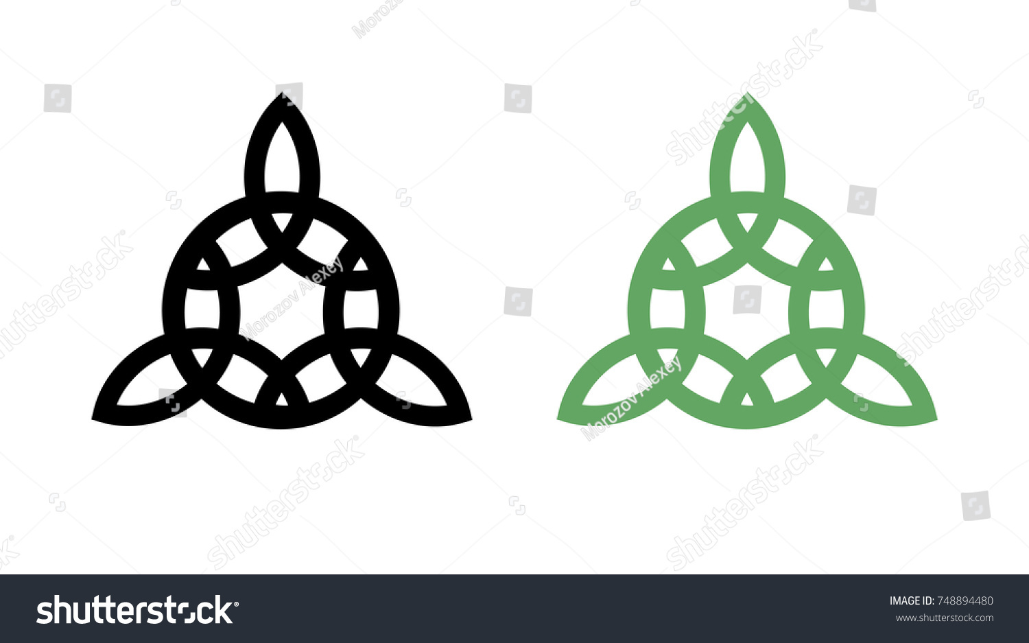 Round Celtic Wiccan Triquetra Symbol Black Stock Vector Royalty