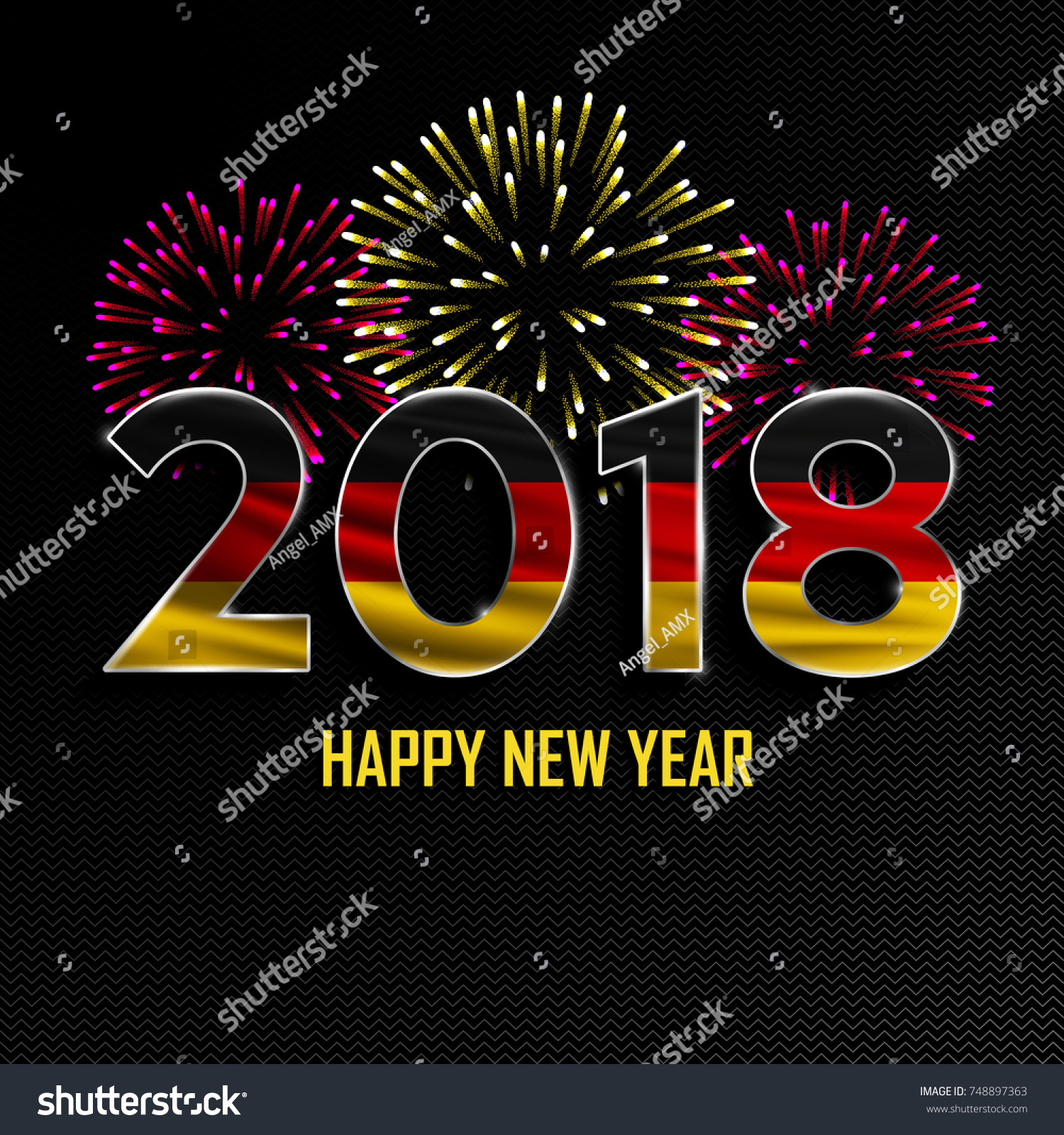 happy new year and merry christmas 2018 new year background with national flag of germany