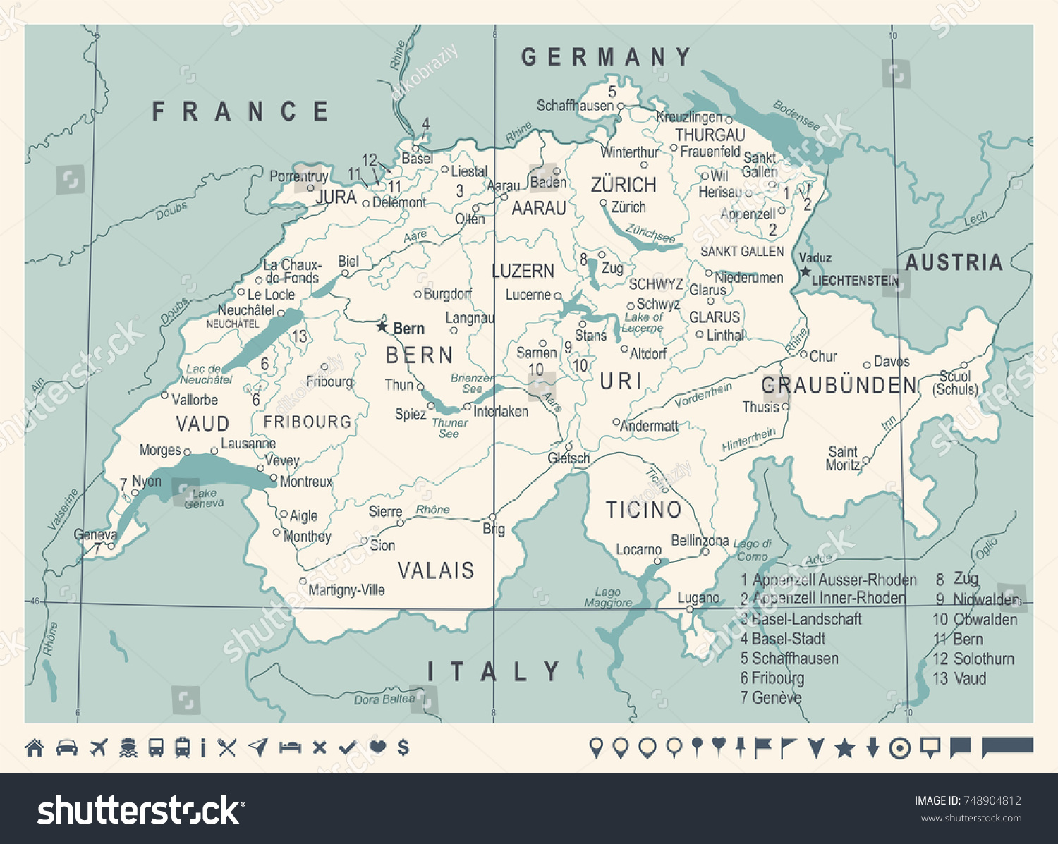 Switzerland Map Vintage Detailed Vector Illustration Stock Vector