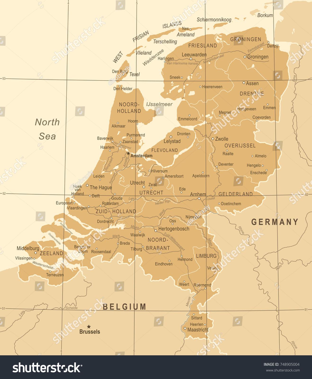 Netherlands Map Vintage Detailed Vector Illustration Stock Vector