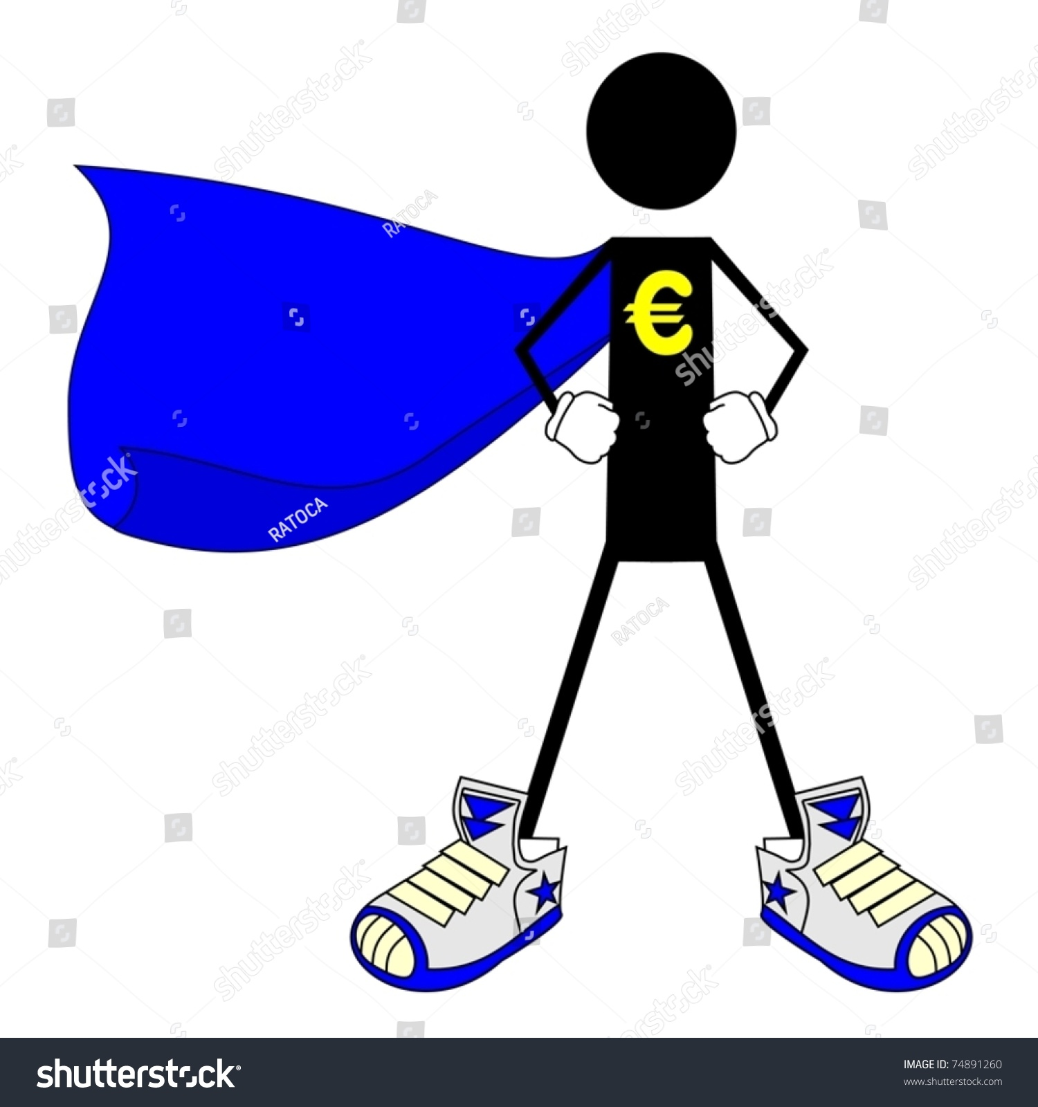 Drawing Hero Euro Symbol On Chest Stock Vector Royalty Free
