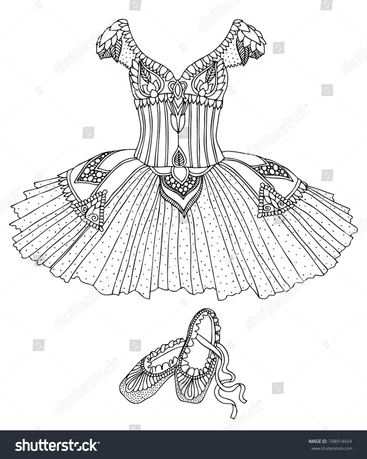 Hand Drawn Costume Ballerina Dress Shoes Stock Vector 748914424 ...