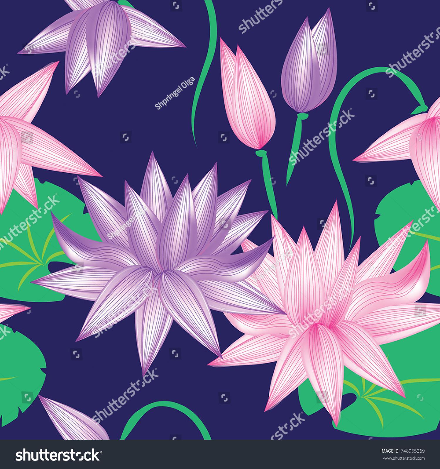 Seamless Pattern Pink Violet Flowers Lotus Stock Vector Royalty