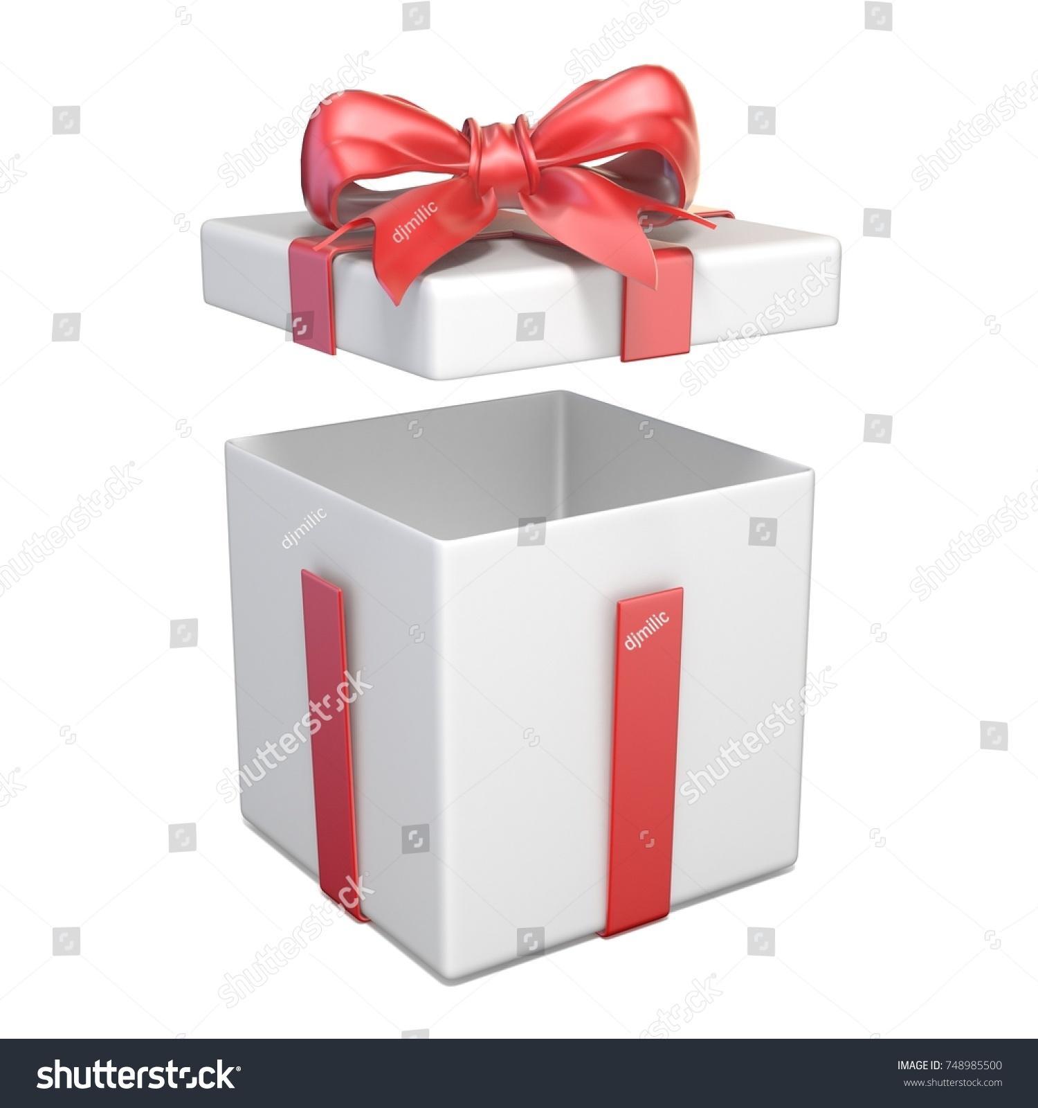 Opened white gift box red ribbon stock illustration 748985500 opened white gift box and red ribbon bow 3d render illustration isolated on white background buycottarizona Gallery