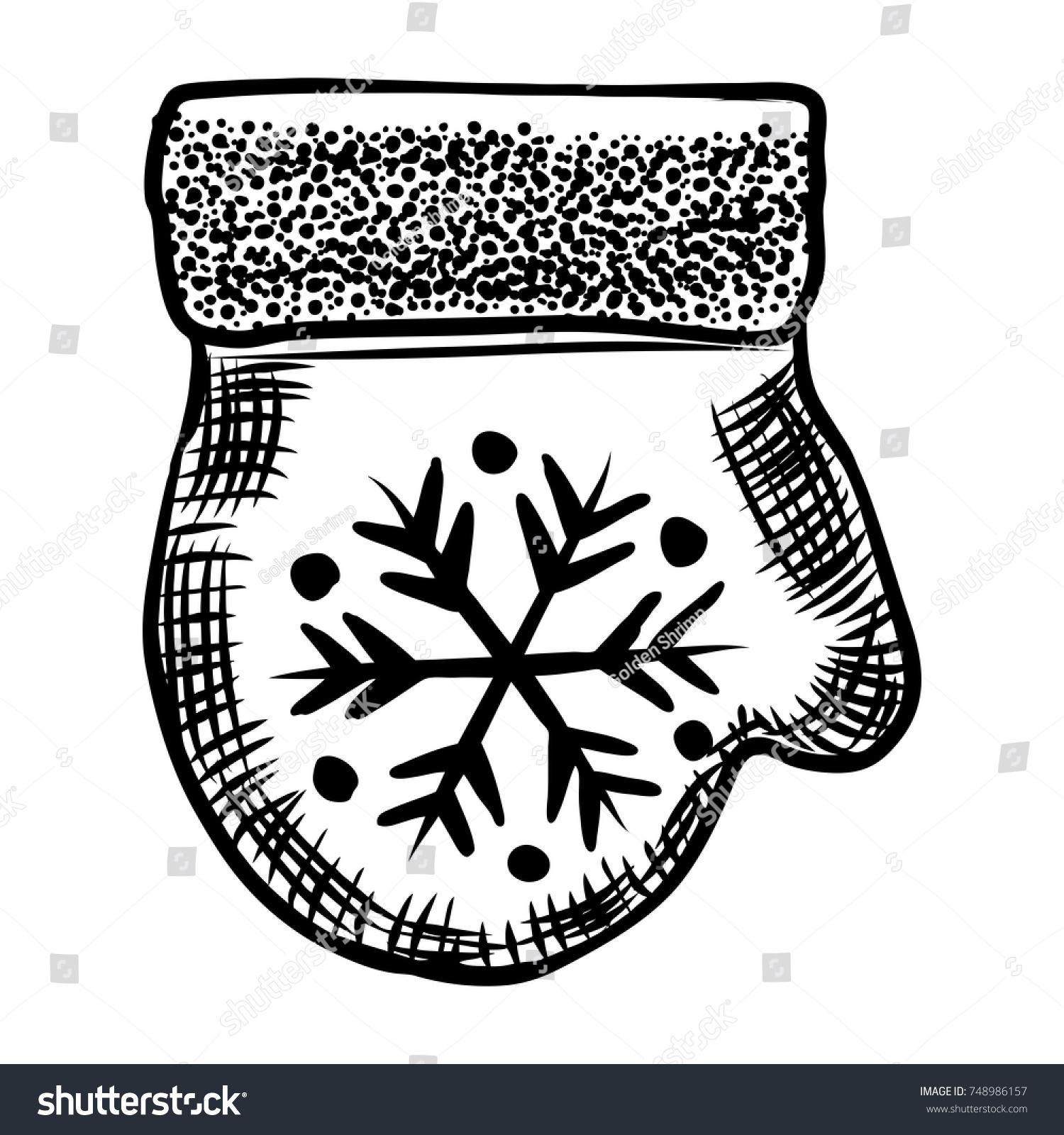 Christmas Ornamental Form Mitten Glove Glass เวกเตอร์สต็อก