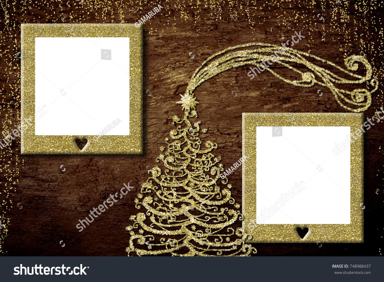 Christmas Photo Frame Cards Golden Christmas Stock Illustration ...