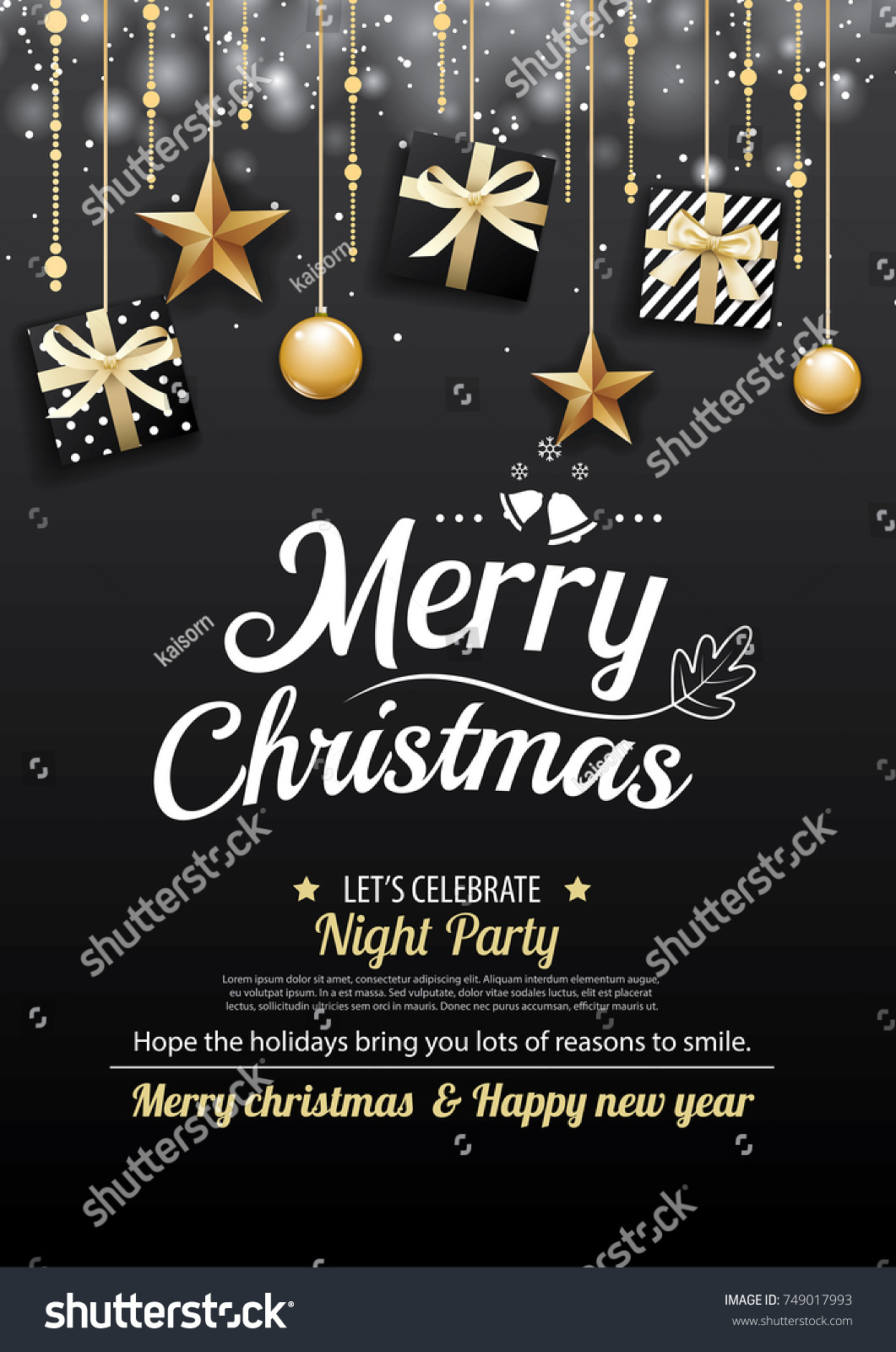 Merry Christmas Party Gift Box On Stock Vector 749017993 - Shutterstock