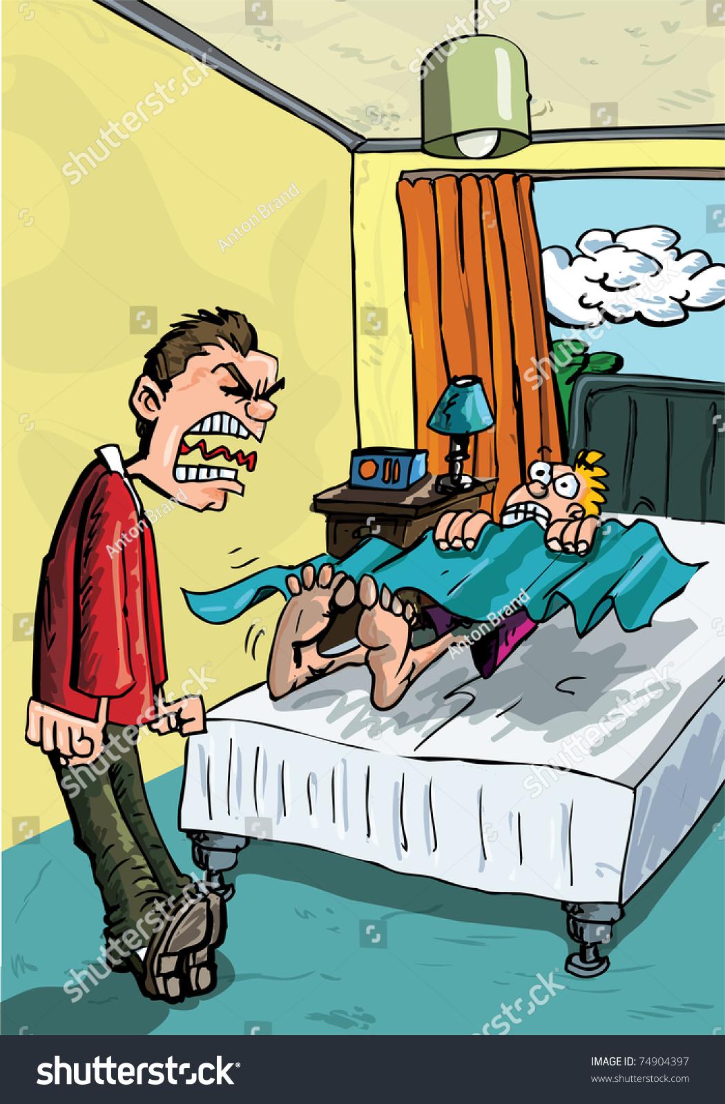 Cartoon Parent Screaming His Son Get Stock Vector 74904397 ...