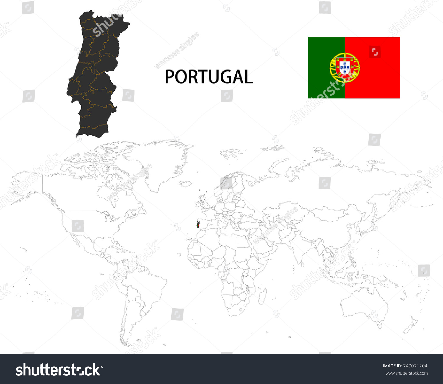 Portugal On The World Map.Portugal Map On World Map Flag Stock Vector Royalty Free 749071204