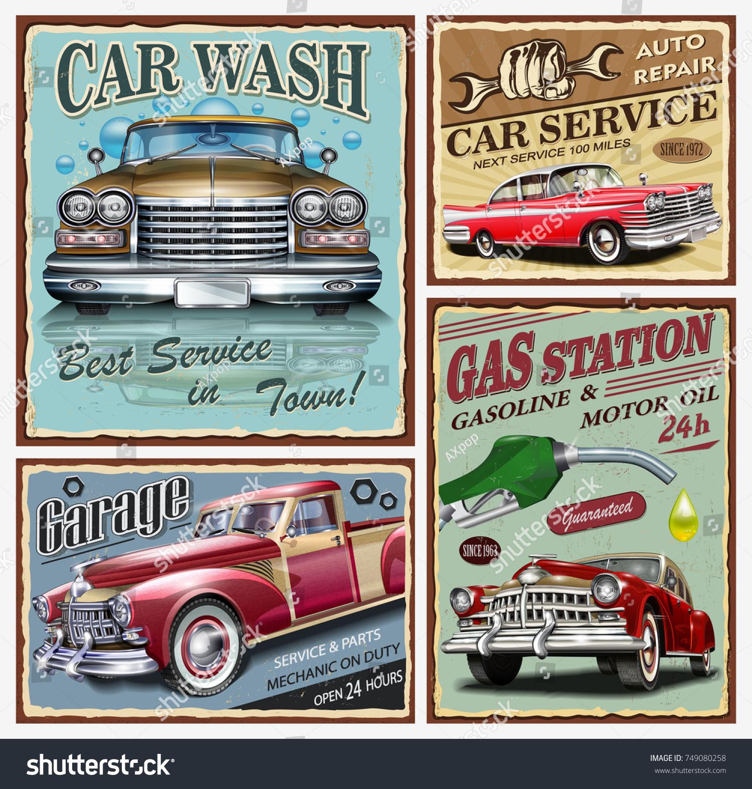 Set Vintage Car Metal Signsgaragecar Wash Stock Vector 749080258 ...