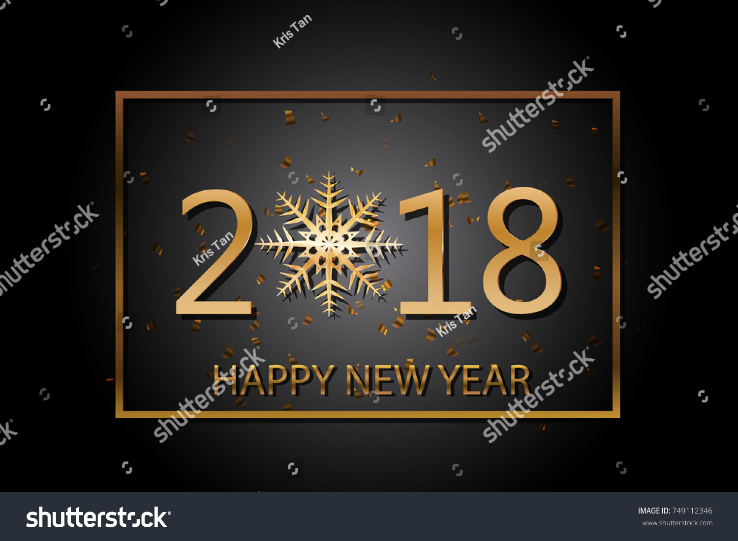Happy New Year 2018 Greeting Card Stock Vector Royalty Free