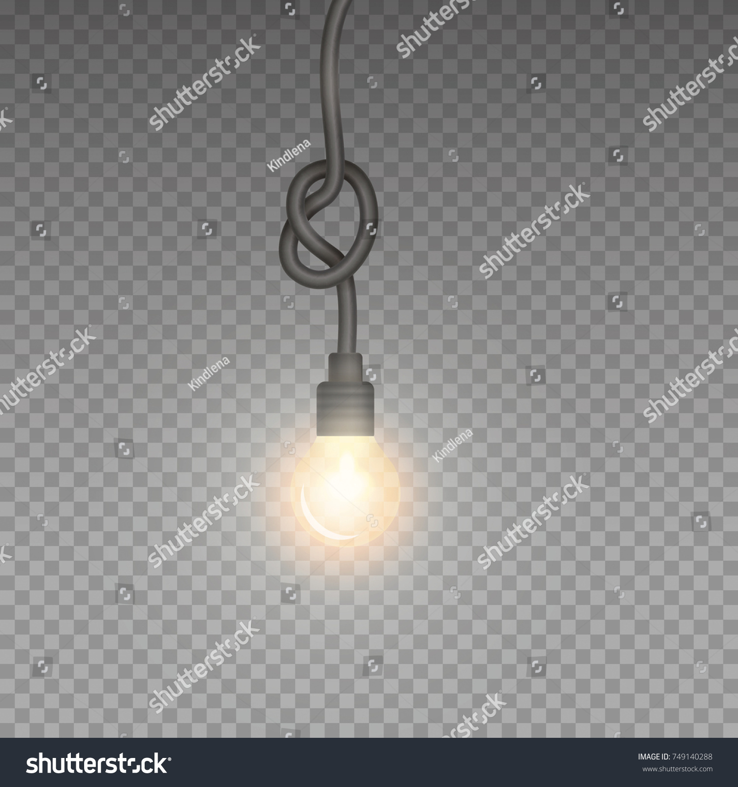 Bulb yellow light with knot cable isolated on transparent background. Vector glowing glass halogen l&  sc 1 st  Shutterstock & Bulb Yellow Light Knot Cable Isolated Stock Vector 749140288 ... azcodes.com