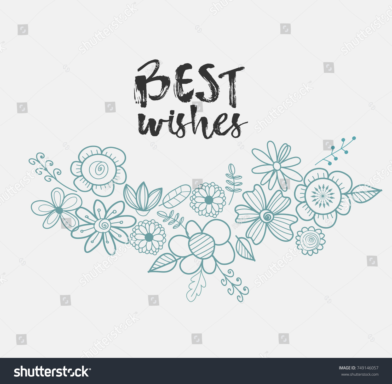 Hand Drawn Greeting Card Flowers Best Stock Vector 749146057