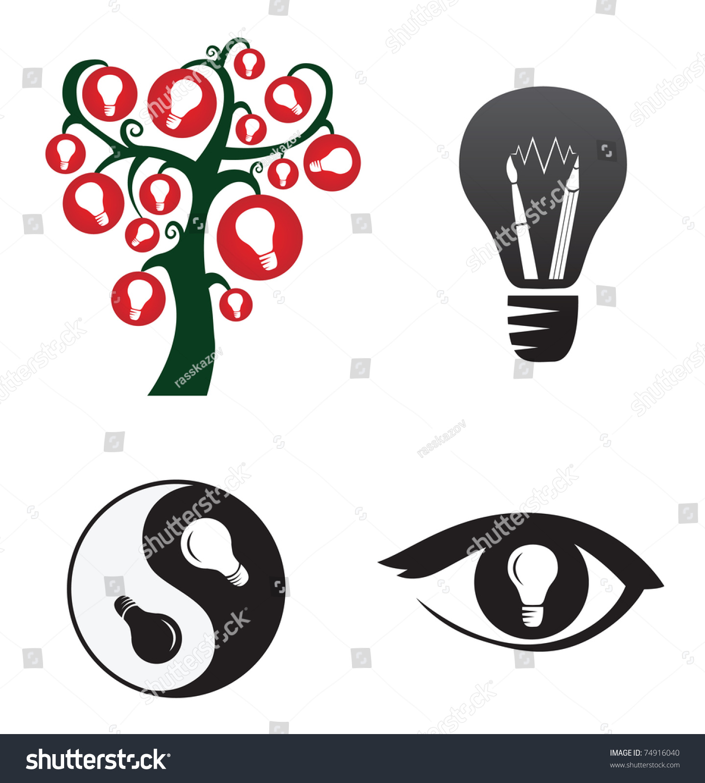 symbols creativity ideas stock vector 74916040 shutterstock