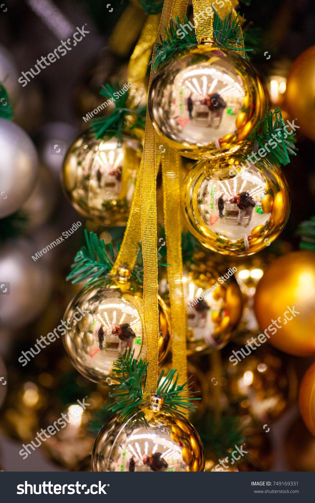 Multicolored Bright Shiny Christmas Decorations Ornaments Stock ...
