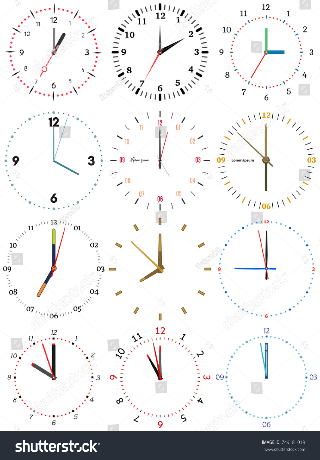 Set Different Mechanical Clocks Image Each Stock Vector 749181019 ...