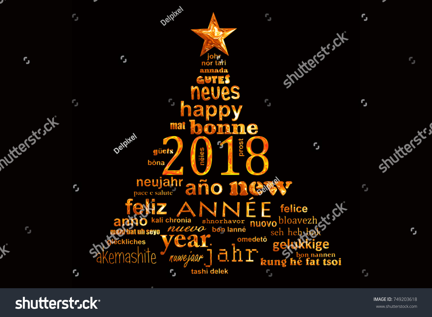 2018 New Year Multilingual Text Word Stock Illustration 749203618