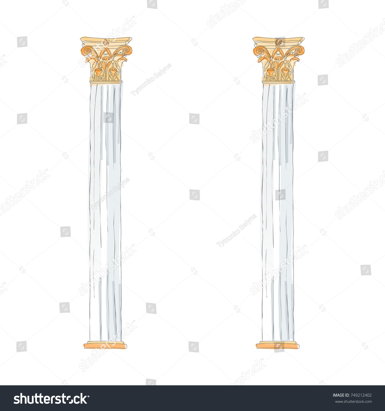 greek doodle columns  vector illustration classical architecture