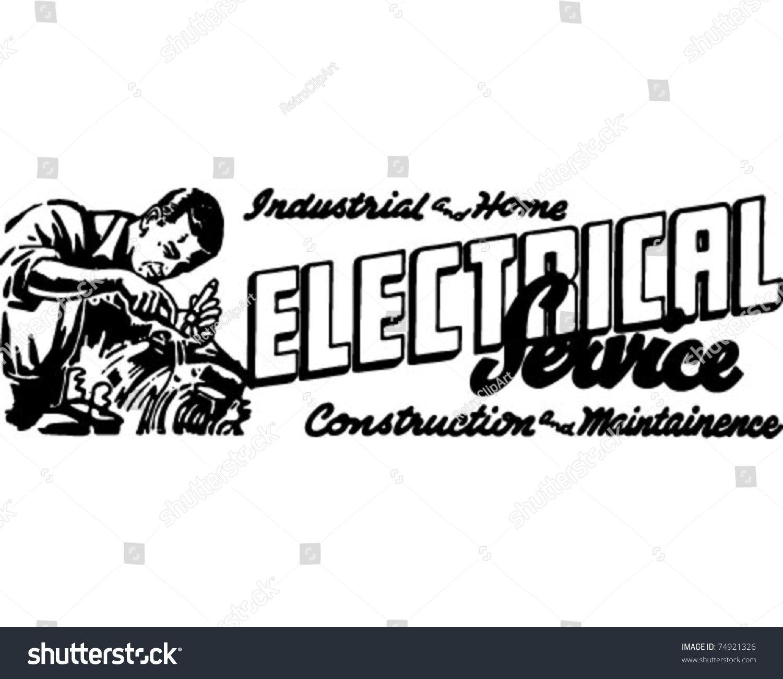 Electrical Service 2 Retro Ad Art Stock Vector 74921326