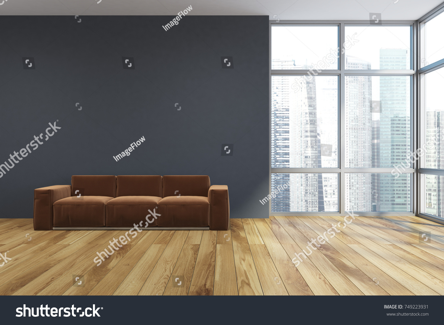 Empty Living Room Interior With Dark Gray Walls Loft Windows And Brown Sofa On A