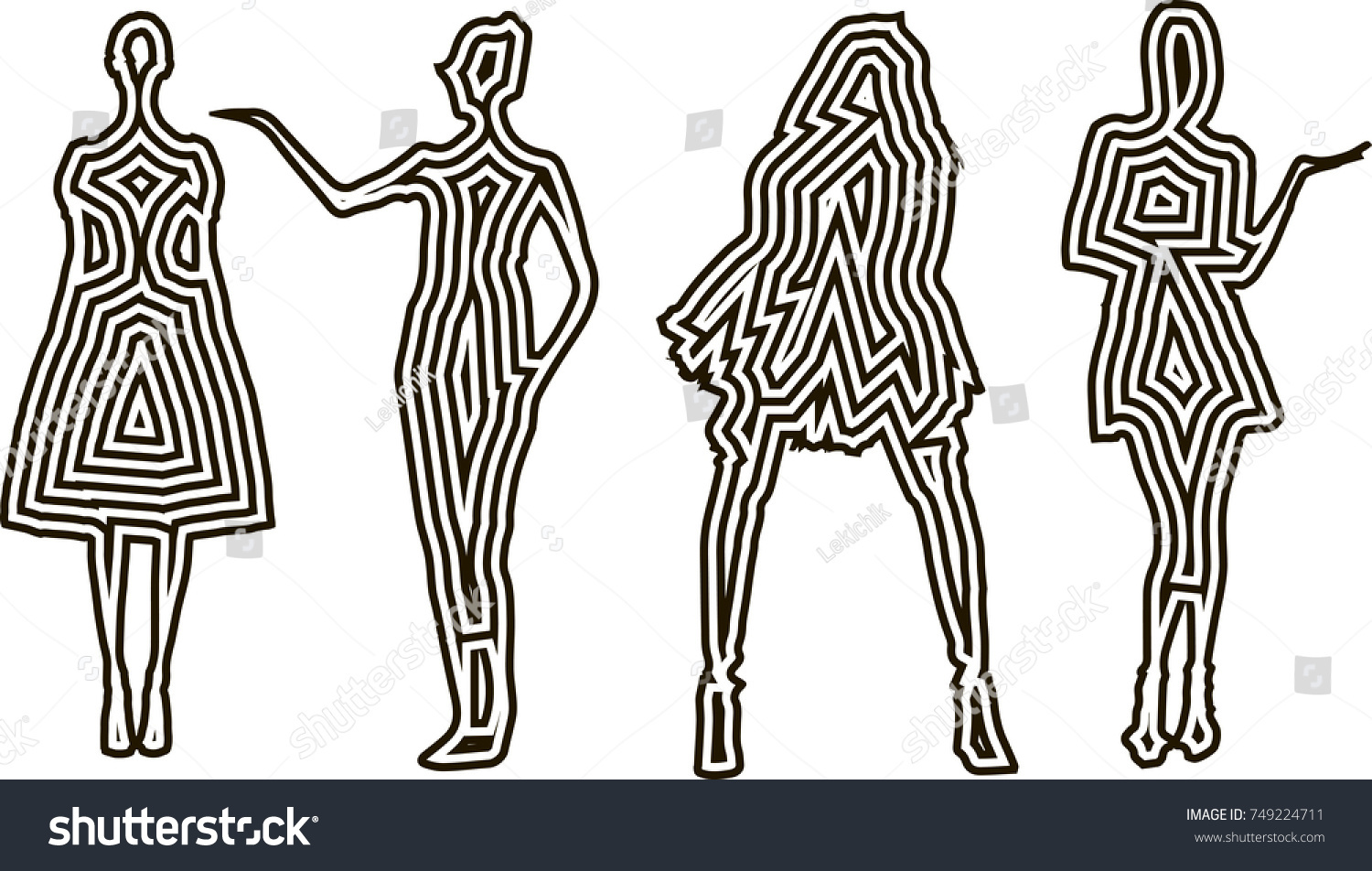 Fashion Design Female Models Silhouettes Template Stock Vector