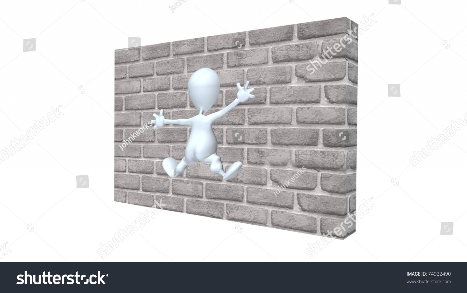 5ec1eb65e87 Royalty Free Stock Illustration of 3 D Man Hitting Brick Wall Stock ...